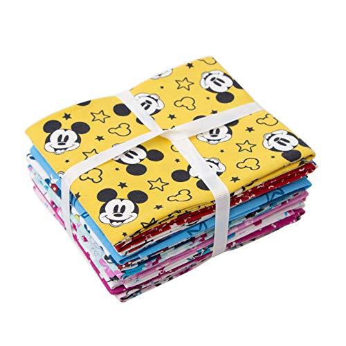 Disney Fat Squarters Bundle – Topolino Minnie – tessuto patchwork in cotone – 10 disegni assortiti
