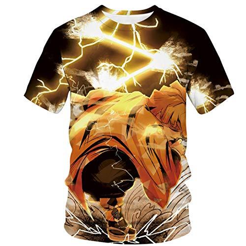 ZOSUO Camiseta De Fit T-Shirt para Hombre Regular Fit 3D Impreso Anime The Blade of Demon Slayer Agatsuma Zenitsu Sudadera Suelta Manga Corta,L