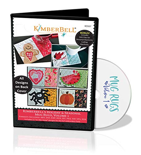 """Kimberbell Holiday & Seasonal Mug Rugs Vol. 1 Machine Embroidery CD-KD507, Includes: Easy Step-by-Step Instructions for Beginners to Advanced, 11 Designs, All Made Entirely in 5""""x7"""" Hoop, Made in USA"""