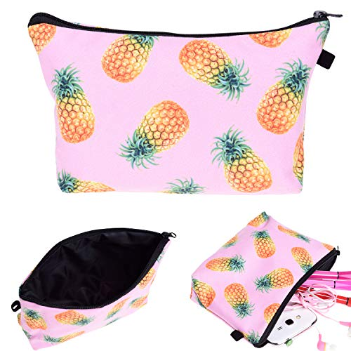 Portable Makeup Bag Organizer Travel 3D Printing Small Cosmetic Bags Zipper Pen Cases Brush Storage Pouch for Women Girls Purse (Pink Pineapple)