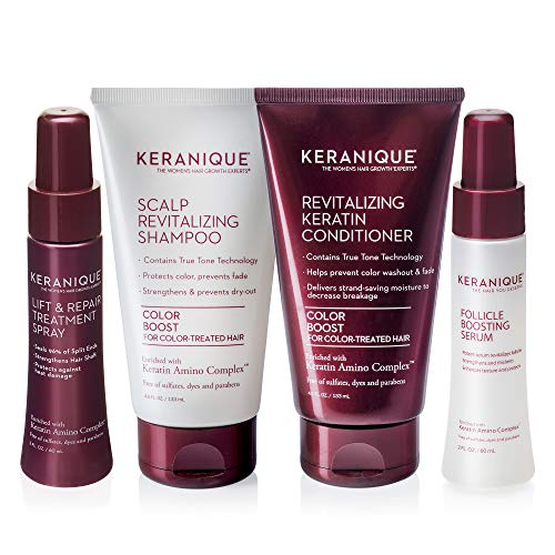 Keranique Thicker Fuller Hair 30 Days Kit with Keratin Shampoo, Conditioner, Follicle Boosting Serum and Lift and Repair Treatment for Color Treated Thinning Hair, Paraben/Sulfates Free