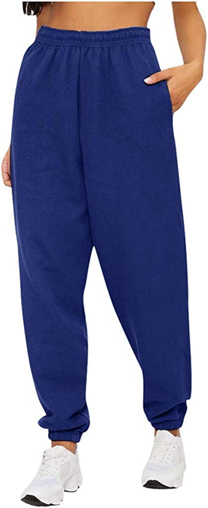 Hessimy Womens Joggers High Waisted,Women Casual Drawstring Elastic Waist Jogger Sweatpants Stretch Lounge Pants with Pockets