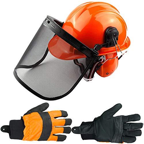 Spares2go Casco de seguridad para motosierra con visera de malla, orejeras, correa para la barbilla y guantes