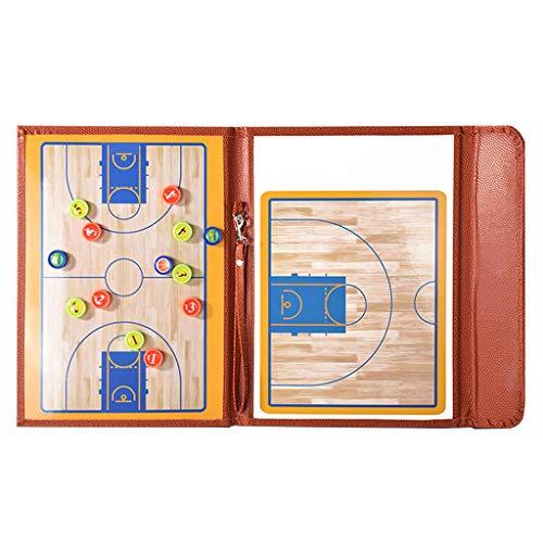Coaches Taktiktafel Basketball Magnetisch Taktikmappe Basketball, Hochwertiges PU-Material, Im Gefalteten Zustand 24 X 32 cm, mit Marker Stift & Radiergummi - Braun