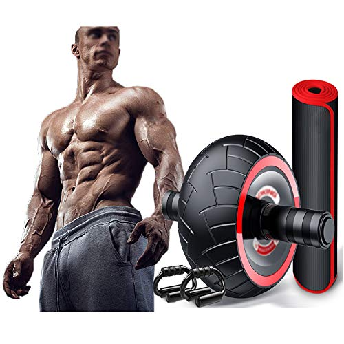 Roller Addominale Wheel Set Ab Workout Attrezzature Kit con Push-up Bar e Yoga Pad