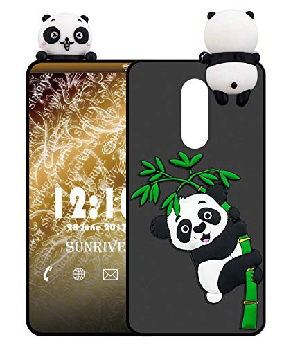 Sunrive Für TP-LINK Neffos X1 Lite Hülle Silikon, Handyhülle matt Schutzhülle Etui 3D Hülle Backcover für TP-LINK Neffos X1 Lite(W1 Panda 2) MEHRWEG+Gratis Universal Eingabestift
