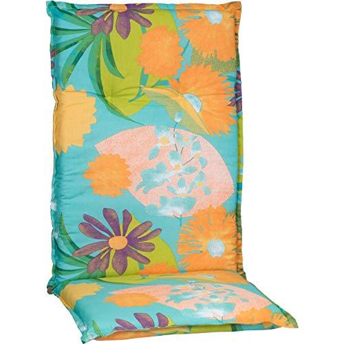 Gartenstuhlauflage Polster Aquarell Blumenmotiv M701 für Hochlehner orange, türkis, rosé und grün