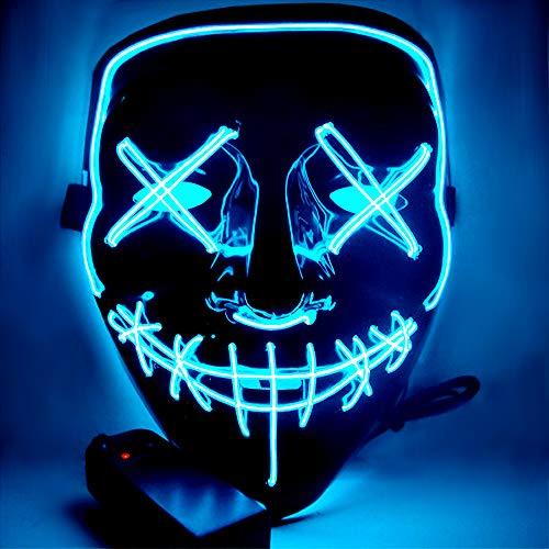 Atsuo Halloween Maske led Maske gruselige Mask LED Purge Maske,Maske Fasching , DASS Sie Sich von der Masse abheben.