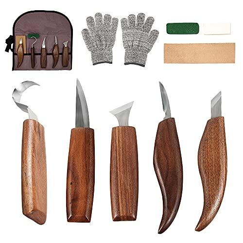 Holz-Schnitzwerkzeug Set, Holz Schnitzmesser mit Schleifsteine 10 Teiliges, Professional Holzschnitzerei Messer Werkzeuge, Schnitzmesser-Set für Anfänger und Profis mit...