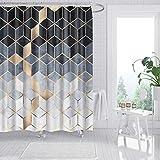 amzdeal Duschvorhang 180 x 180 cm mit 12 Ringe, Polyestergewebe Wasserdicht Maschinenwaschbar, für Badewanne Duschen Dekorative Backstein Badezimmer- Rautenmuster