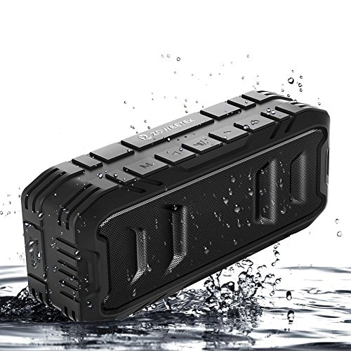 Zoweetek Waterproof Portable Bluetooth Speaker with 24-Hour Playtime, TWS Function, Stereo Sound, Rich Bass, Shockproof, Dust-Proof