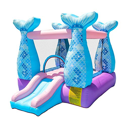 AUZZO HOME Inflatable Castle Mermaid Bouncy Castle House with Slide and Air Blower for Kids Party, 280X215X195cm