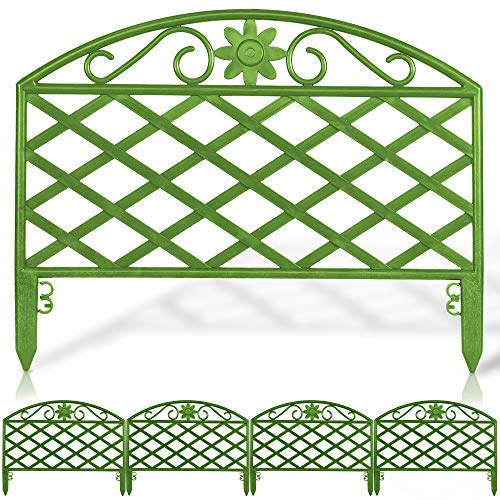 EVELYN LIVING Set of 4 Plastic Garden Border Fence Edging Panels Strong Connecters Design Plant Picket Fencing for Flowers Weatherproof BPA Free (Sage Green)