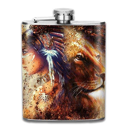 Presock-Flaschen für Schnaps, indische Frauen mit Federschmuck und Lion Fashion Portable Edelstahl Flachmann Whisky-Flasche für Männer
