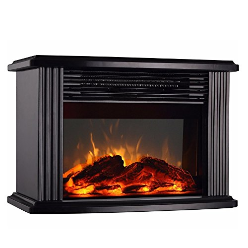 DONYER POWER 1500W Mini Electric Fireplace Tabletop Portable Heater,14'' (Black, Metal) black electric Fireplace