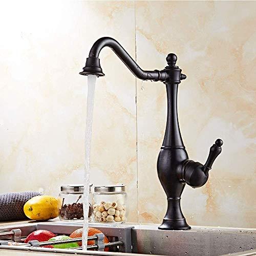 Grifo de cocina retro europeo de fácil instalación, diámetro del asiento 3,5 cm, núcleo de válvula de cerámica, rejilla de agua, mango único y giratorio de 360 °