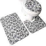xiaoxioaguo Cuarto de baño 3 piezas/set de baño cubierta de inodoro cubierta de asiento alfombra de baño