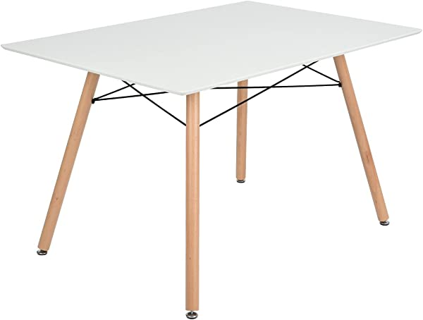 GreenForest Dining Table Rectangular Top With Wooden Legs Modern Leisure Coffee Table 44 X 28 Compact Size White
