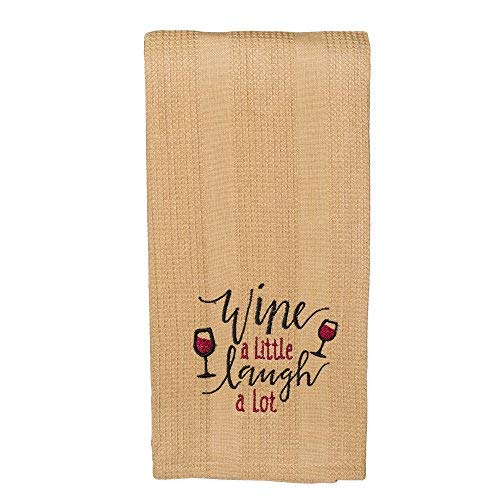 The Country House Collection Wine a Little Laugh a Lot 19 x 28 All Cotton Embroidered Waffle Kitchen Towel