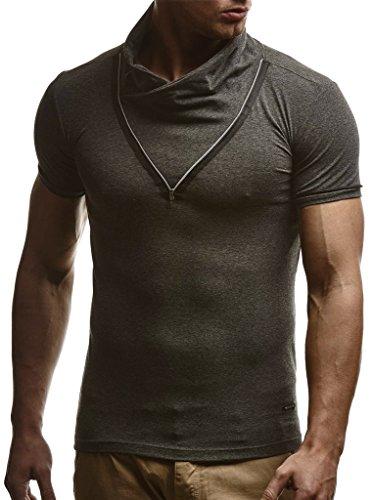 Leif Nelson Herren Sommer T-Shirt Stehkragen Slim Fit Casual Baumwolle-Anteil Cooles weißes schwarzes Männer Kurzarm-T-Shirt Hoodie-Sweatshirt-Longsleeve lang LN670 Anthrazit Large