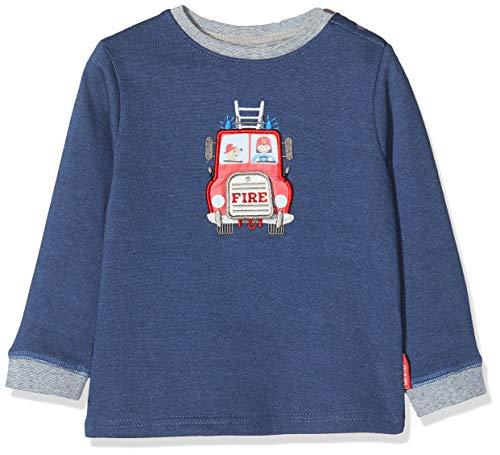 Salt & Pepper Baby-Jungen Ready for Action Feuerwehr mit Motiv zum Öffnen Sweatshirt, Blau (Dark Blue Melange 492), (Herstellergröße: 80)