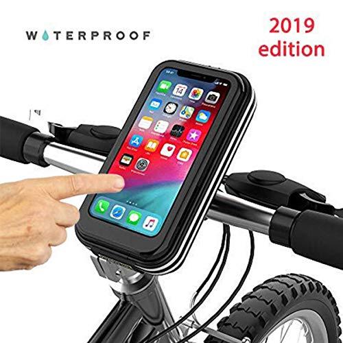 Porta teléfono para bicicleta negro hasta 5,5 pulgadas – Resistente al agua, bolsas para bicicleta, apto para teléfonos iPhone 5, SE, 4, Samsung, LG, Nokia