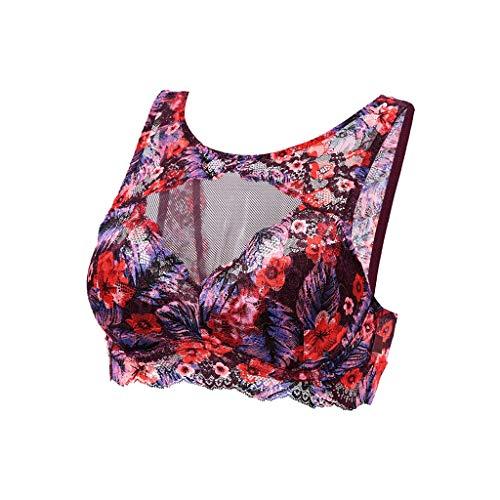 Bedrukte Sport Ondergoed Vrouwelijke Schoonheid Terug Verzameld Bra dunne gedeelte ademend Hollow Vest Bra (Size : M)