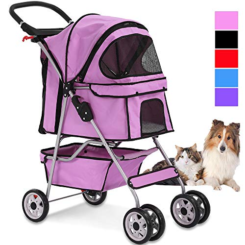 Dkeli 4 Wheels Pet Stroller Cat Dog Cage Stroller Travel Folding Carrier 2