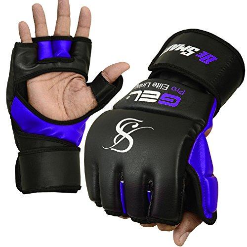 Guantes para boxeo y artes marciales mixtas, piel Rex, para saco de boxeo, muay thai y UFC, con gel, de BeSmart