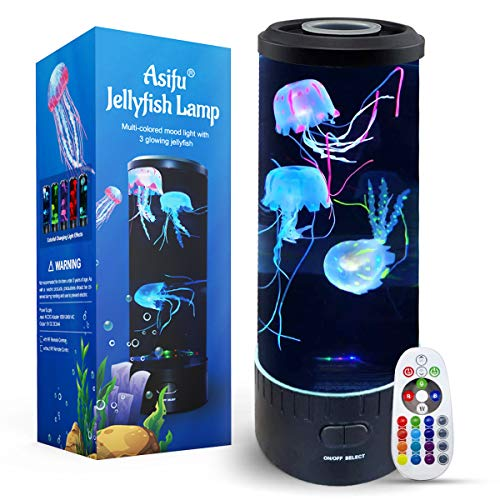 Jellyfish Lava Lamp - Electric Cute Dimmable Aquarium LED Mood Color Changing Night Light Gift for Kids Adults Women for Birthday Christmas, Home Office Room Desktop Decoration, with RF Remote Control