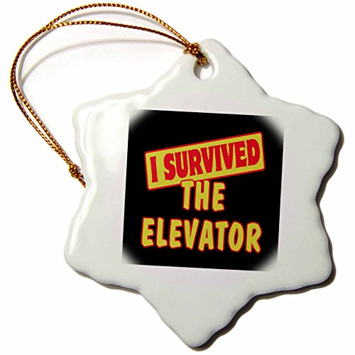 3dRose ORN_118330_1 I Survived The Elevator Survival Pride and Humor Design Snowflake Ornament, Porcelain, 3-Inch