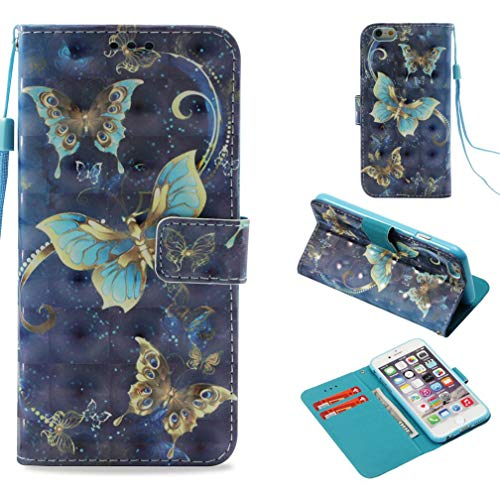 Firefish iPhone 6S Case,3D Printing Pu Leather Flip Folio Dust Proof Credit Card Holder Inner Soft Bumper Wrist Strap Lightweight Full Protective Case Apple iPhone 6S (Blue)