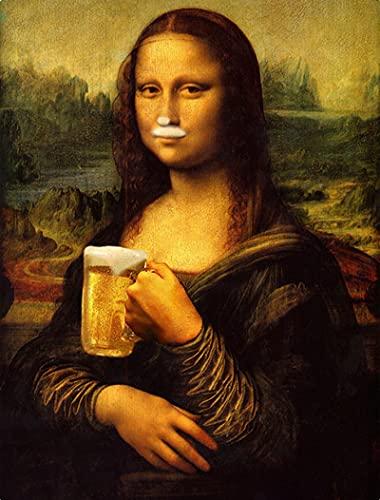 Quadri Moderni Stampa Lustige Kunst Mona Lisa Trinken und Rauchen Wandkunst Bilder da Vinci Berühmte Gemälde an der Wand für Wohnkultur 60x90cm