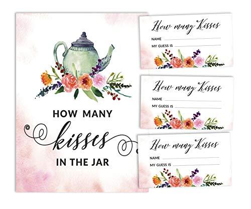 Inkdotpot witte thee partij hoeveel kussen in de pot bruids douche spel 1 teken + 30 kaarten