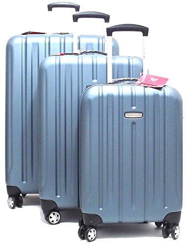Roncato set tre trolley viaggio, Kinetic 409860-43, trolley cabina+trolley medio+trolley grande rigidi in policarbonato, colore blu artico, chiusura TSA