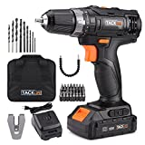 Tacklife PCD05B 20V MAX 3/8' Cordless Drill Driver Set, 2-Speed Max Torque 265 In-lbs 19+1 Position with LED, 43pcs Accessories Included, 2.0Ah Lithium-Ion Battery