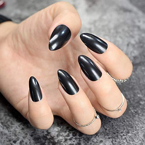 TJJF 24 Pcs Pointu Faux Ongles Briller Noir Moyen Plastique Nail Art Conseils Manucure Bricolage Outils Beaucoup Pour Choisir