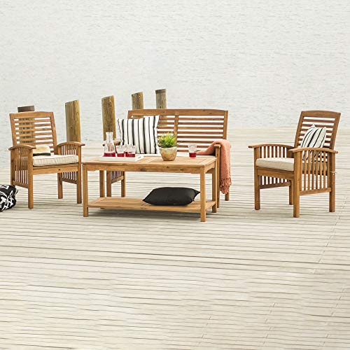 Walker Edison Rendezvous Modern 4 Piece Solid Acacia Wood Slatted Patio Chat Set with Cushions, Set of 4, Brown