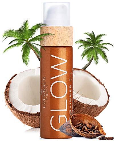 COCOSOLIS Glow Bio Körperöl - Schimmerendes Körperöl mit Gesicht Glitzer, Verleiht Bronze Schimmer – Organisch natürliche Zutaten – Neuer Keks Duft (110 ml)