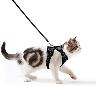 Cat Harness and Leash Set for Walking Escape Proof, Adjustable Small Vest Harnesses for Cats with 59 Inches Leash, Small Kitten Leash Harness with Reflective Strips and 1 Metal Leash Ring Extra Small, Black
