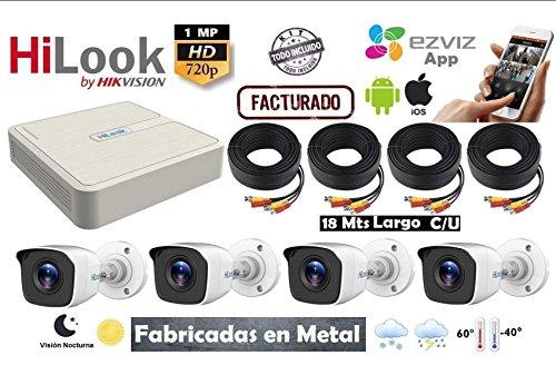 HILook Kit Circuito Cerrado 4 Camaras Metal Hd720p con DVR 8 Canales Kit7208bm