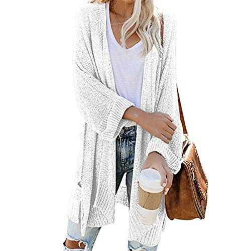 JIER Damen Lang Strickjacke Offene Knit Strick Cardigan Strickmantel Mantel Stricken Strickjacke Langarm Einfarbig Outwear Lose Casual Coat (Weiß,Small)