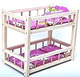 Direct Global Puppenbett aus Holz/ Etagenbett aus Holz für Puppen mit Matratzen und Kissen / Holzspielzeug / Puppen Krippe 36 cm -