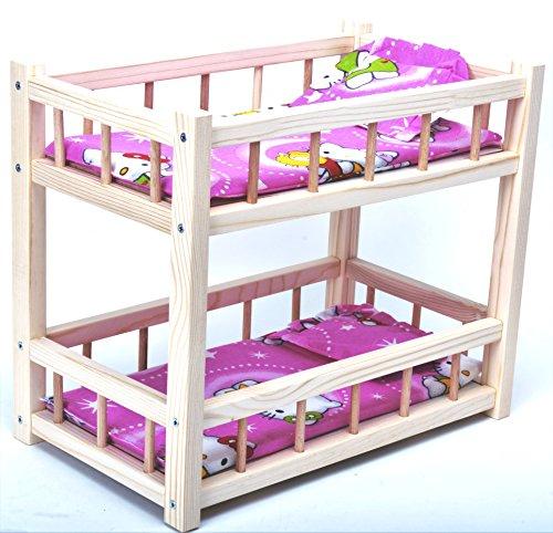Direct Global Puppenbett aus Holz/ Etagenbett aus Holz für Puppen mit Matratzen und Kissen / Holzspielzeug / Puppen Krippe 36 cm