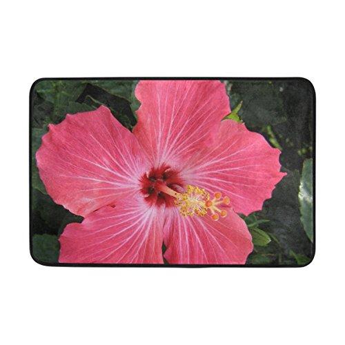 JSTEL rot Hibiskus Blume waschbar-Fußmatte Garten Büro Fußmatte, Küche ESS-Living Badezimmer Pet Eintrag Teppiche mit Rutschfeste Unterseite