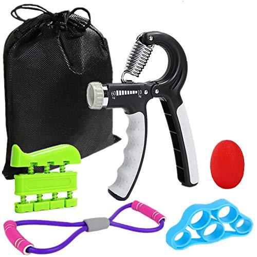 roygra Hand Grip Strengthener Workout Kit Set (5 Pack) Forearm Adjustable Gripper Finger Exerciser Stretcher Band Resistance Stress Relief Grip Ball (A - 5 Pack)