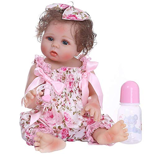 Reborn Baby Dolls 48Cm Realista Reborn Doll Baby Realista Niña Pequeña con Vestido Rosa Florido Muñeca Recién Nacida Cuerpo Completo Silicona Suave Baño Impermeable Juguete Anatómicamente Correcto