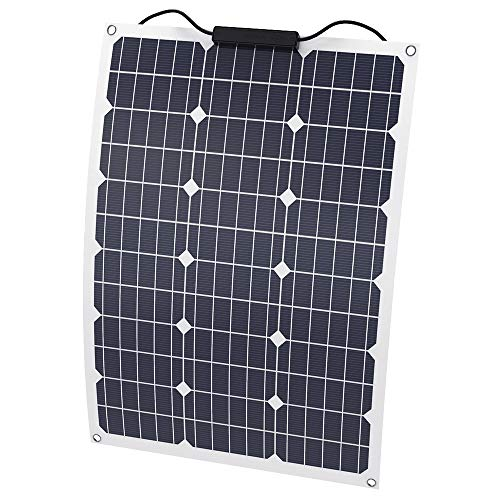SOLKA Wasserdichte 12V 18V Semi-Flexible Solarbatterieladevorrichtung 50W Solarpanel Ladegerät mit MC4 Anschluss, für Wohnmobil, Boot, Kabine, Zelt, Auto, Dächer oder Andere Unebene Oberflächen
