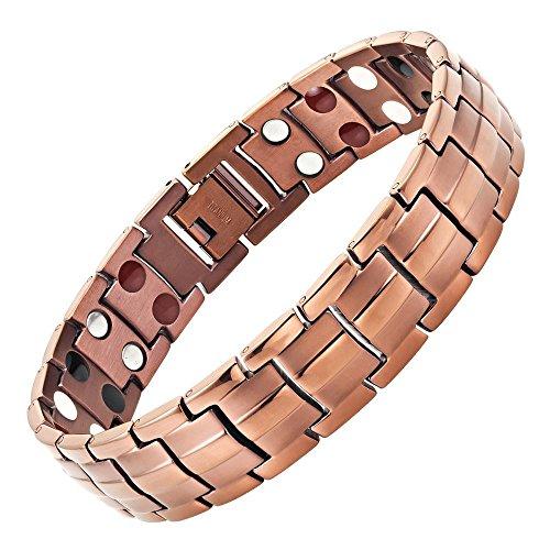 Willis Judd - Pulsera magnética de cuatro elementos, titanio color chocolate, incluye herramienta para quitar eslabones y caja regalo