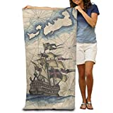 YUYUTE Toallas de Playa Large Beach TowelsBath Sheets Nautical Captain Sailboat Pirate Map Beach TowelsLuxury Soft Eco-Friendly Printing Design Camping,Non-Toxic d¨¦Corin